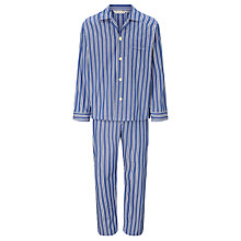 Buy Derek Rose Double Stripe Woven Cotton Pyjamas, Navy Online at johnlewis.com