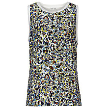 Buy Reiss Campbell Printed Silk Front Tank, Mercury Online at johnlewis.com