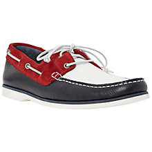 Buy Bertie Battleship Leather Boat Shoes, Navy/Red/White Online at johnlewis.com
