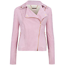 Buy Ted Baker Suede Biker Jacket, Pale Pink Online at johnlewis.com