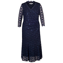 Buy Chesca Scallop Lace Sequin Trim Dress, Navy Online at johnlewis.com