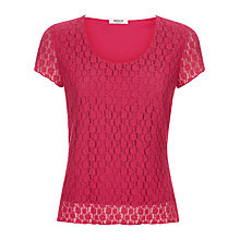 Buy Precis Petite Floral Lace Short Sleeve Top, Pink Online at johnlewis.com