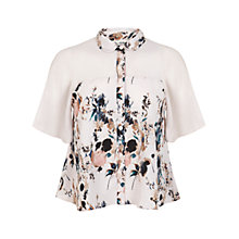 Buy Miss Selfridge Angel Sleeve Print Blouse, Assorted Online at johnlewis.com