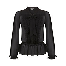 Buy Miss Selfridge Ruffle Pussy Bow Blouse, Black Online at johnlewis.com