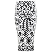 Buy Miss Selfridge Cable Jacquard Pencil Skirt, Black Online at johnlewis.com