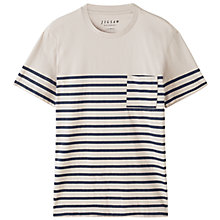 Buy Jigsaw Engineered Stripe T-Shirt, Almond Online at johnlewis.com
