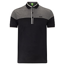 Buy BOSS Orange Havel Jacquard Polo Top, Black Online at johnlewis.com
