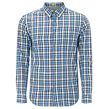 Buy BOSS Orange Check Long Sleeve Shirt, Blue/Navy Online at johnlewis.com