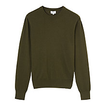 Buy Jigsaw Cotton Cashmere Pointelle Jumper, Khaki Online at johnlewis.com