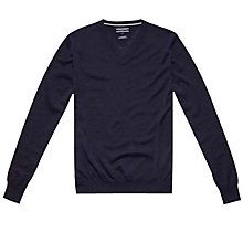 Buy Tommy Hilfiger Clayton V-Neck Jumper, Navy Blazer Online at johnlewis.com