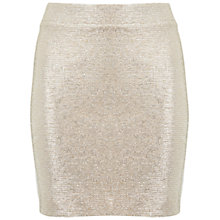 Buy Miss Selfridge Petite Shimmer Skirt, Gold Online at johnlewis.com