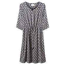 Buy East Lilith Booti Print Dress, Indigo Online at johnlewis.com