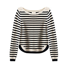Buy East Stripe Cable Detail Jumper, Pearl Online at johnlewis.com