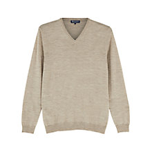 Buy Aquascutum Crowe V-Neck Merino Wool Jumper, Beige Online at johnlewis.com