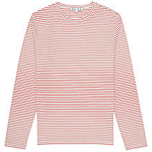 Buy Reiss Stripe Long Sleeve Top, Red Online at johnlewis.com
