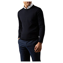Buy Aquascutum Rolfe Crew Neck Merino Wool Jumper, Navy Online at johnlewis.com