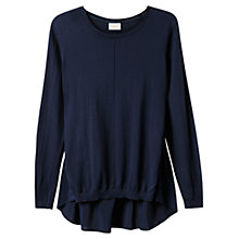 Buy East Silk Detail Cotton Jumper, Navy Online at johnlewis.com