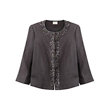 Buy East Linen Victoire Jewelled Jacket, Slate Online at johnlewis.com
