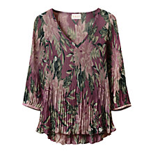 Buy East Abigail V Neck Pleat Top, Multi Online at johnlewis.com