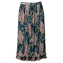 Buy East Abigail Pleat Skirt, Teal Online at johnlewis.com