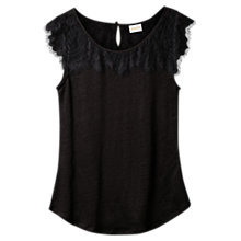 Buy East Short Sleeve Lace Top, Black Online at johnlewis.com