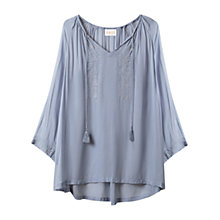Buy East Metallic Embroidered Tunic Top, Powder Blue Online at johnlewis.com