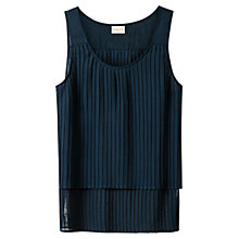 Buy East Pleated Vest Top, Navy Online at johnlewis.com