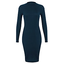 Buy Miss Selfridge High Neck Ribbed Dress, Teal Online at johnlewis.com
