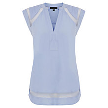 Buy Warehouse Mesh Insert Crepe Top Online at johnlewis.com