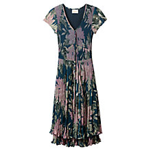 Buy East Abigail Pleat Dress, Teal Online at johnlewis.com