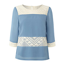 Buy White Stuff Piece Petal Top, Orient Blue/Ivory Online at johnlewis.com