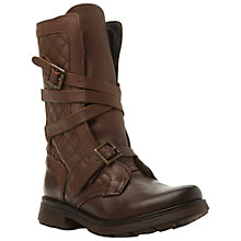 Buy Steve Madden Bounty Leather Buckle Detail Calf Boots, Tan Online at johnlewis.com