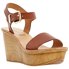 Buy Dune Black Kellie Leather Wedge Sandals, Tan Online at johnlewis.com