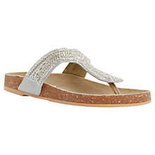 Buy Steve Madden Radlee Beaded T-bar Sandals, Silver Online at johnlewis.com