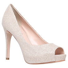 Buy Carvela Lara Peep Toe Court Shoes, Silver Online at johnlewis.com