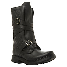 Buy Steve Madden Bounty Leather Buckle Detail Calf Boots, Black Online at johnlewis.com