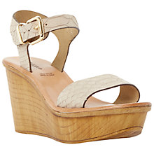 Buy Dune Black Kellie Leather Wedge Sandals, Beige Online at johnlewis.com