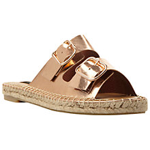 Buy Dune Black Linzi Double Strap Leather Espadrille Sandals, Rose Gold Online at johnlewis.com