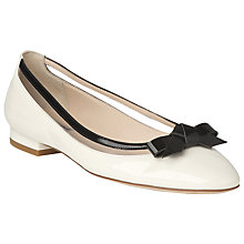 Buy L.K. Bennett Emma Patent Ballerina Pumps, Ivory/Black Online at johnlewis.com