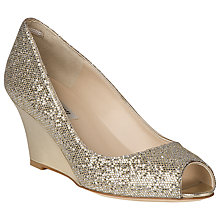 Buy L.K. Bennett Zoey Metallic Leather Peep Toe Wedges, Platinum Online at johnlewis.com