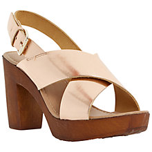 Buy Dune Fraggel Leather Wooden Clog Effect Heeled Sandals Online at johnlewis.com
