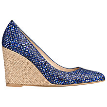 Buy L.K. Bennett Grace Printed Leather Wedge Court Shoes, Blue Online at johnlewis.com