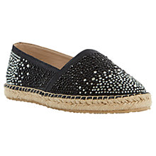 Buy Dune Given Diamante Leather Espadrilles, Black Online at johnlewis.com