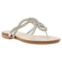 Buy Dune Chain Embellished Toe Post Sandals, Silver Online at johnlewis.com