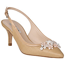 Buy L.K. Bennett Carrie Raffia Slingback Court Shoes, Ivory Online at johnlewis.com