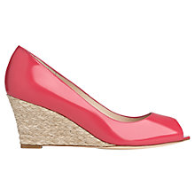 Buy L.K. Bennett Zelita Patent Leather Peep Toe Wedges, Power Pink Online at johnlewis.com