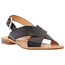 Buy Dune Black Lois Flat Cross Strap Sandals, Black Leather Online at johnlewis.com