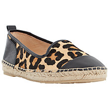 Buy Dune Golled Leather Plimsolls, Leopard Online at johnlewis.com