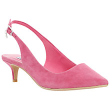 Buy Dune Cathryn Slingback Kitten Heel Court Shoes, Pink Suede Online at johnlewis.com