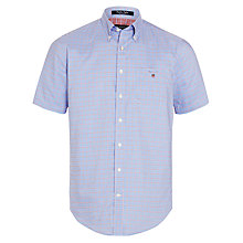 Buy Gant Gingham Oxford Grid Check Short Sleeve Shirt, Yale Blue Online at johnlewis.com
